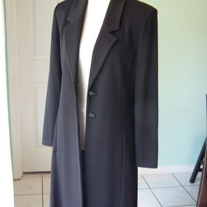 St John Couture Sz 10 Long Dress Jacket Black Wool